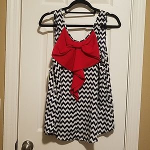 Blue and White Tank Top with Red Bow